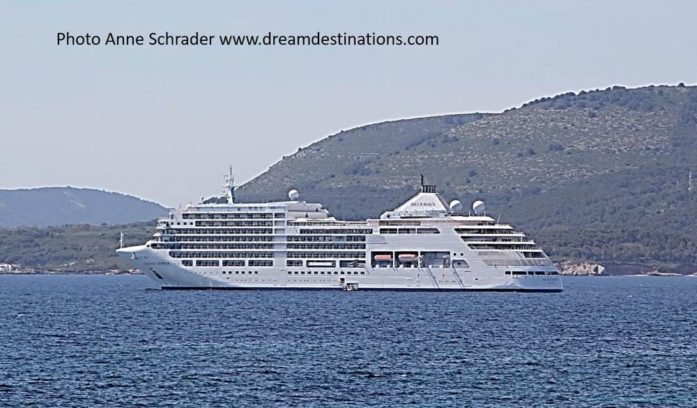 The Silver Spirit cruise ship anchored of Mykonos, Greece