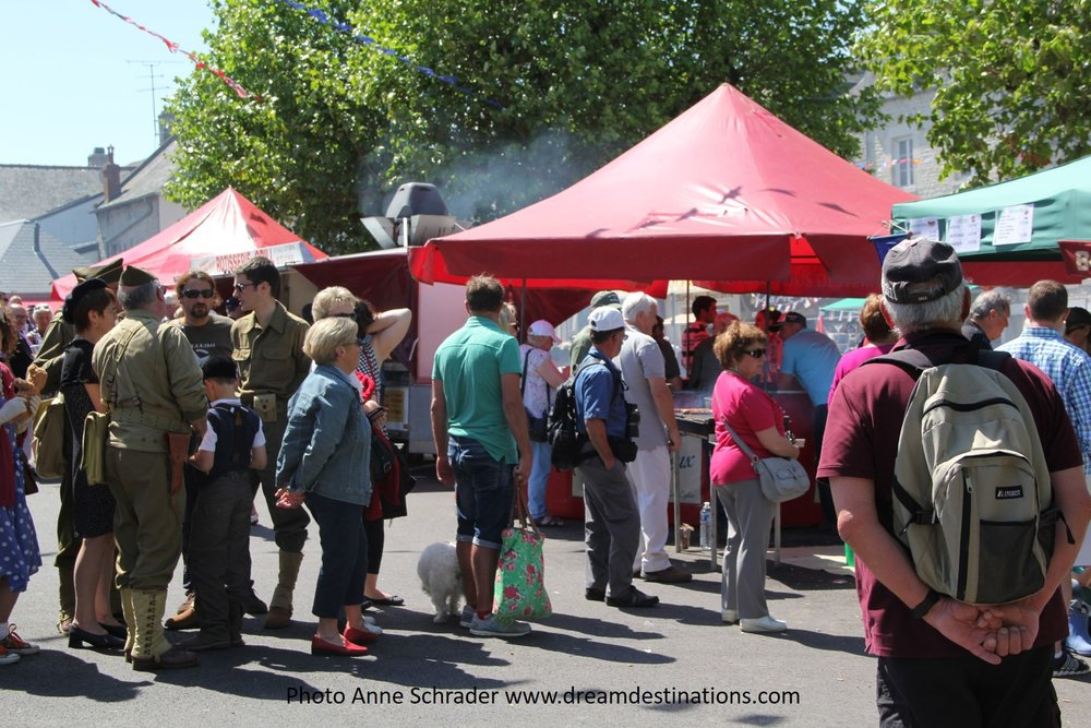 Waiting in line for grilled meats, D Day Festival 6 June 2014 in Ste Mere Eglise