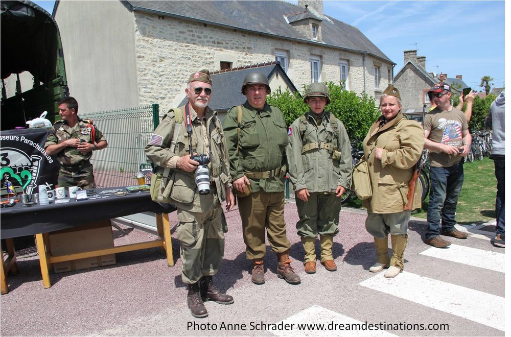 Reenactors in Ste. Mere Eglise during the 2014 D Day Festival