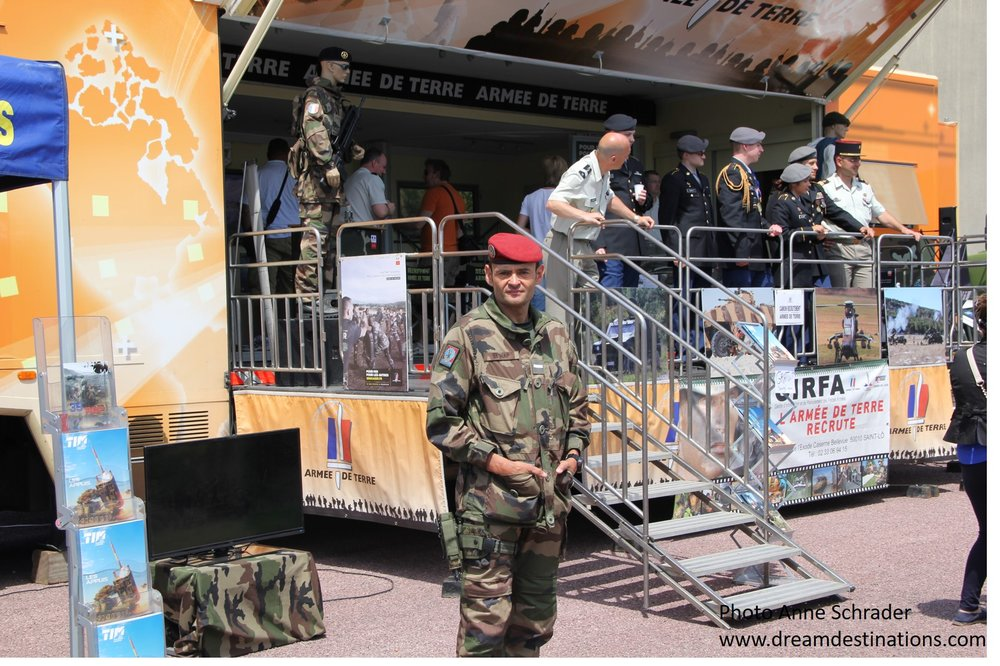 Recruiting display for the French Army in Ste. Mere Eglise during the D Day Festival 2014