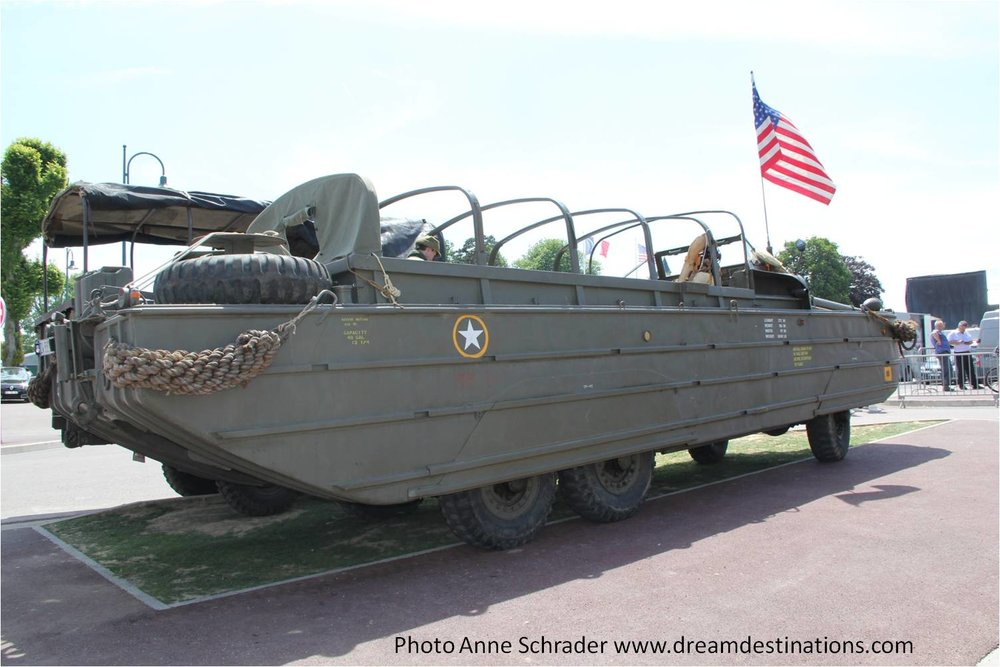 DUKW landing craft on display in Ste Mere Eglise 2014