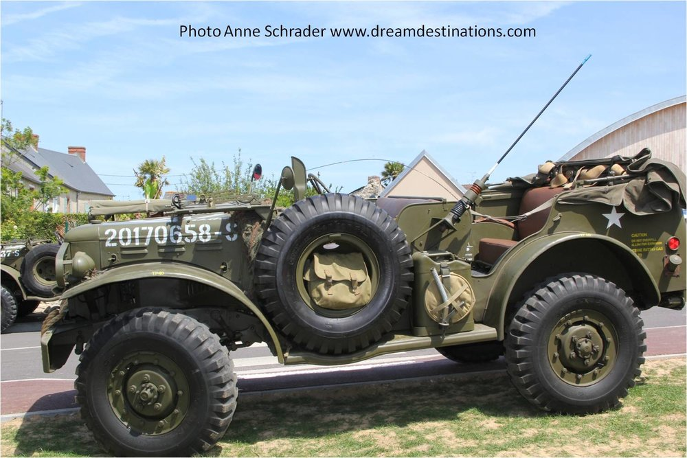 A WW II jeep on display in Ste. Mere Eglise during the festival on 6 June 2014