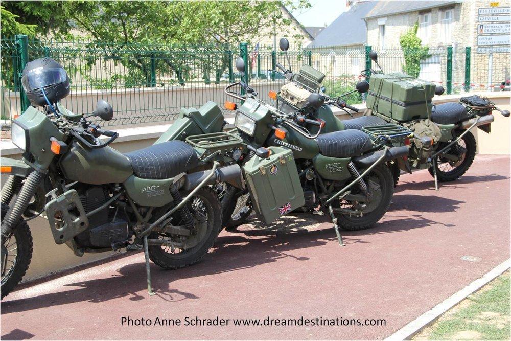 WW II vintage Motorcycles in Ste. Mere Eglise 2014