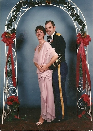 Anne & Hank 1987 at Ft. Ord, CA, all dressed up!—she's my biggest cheerleader!