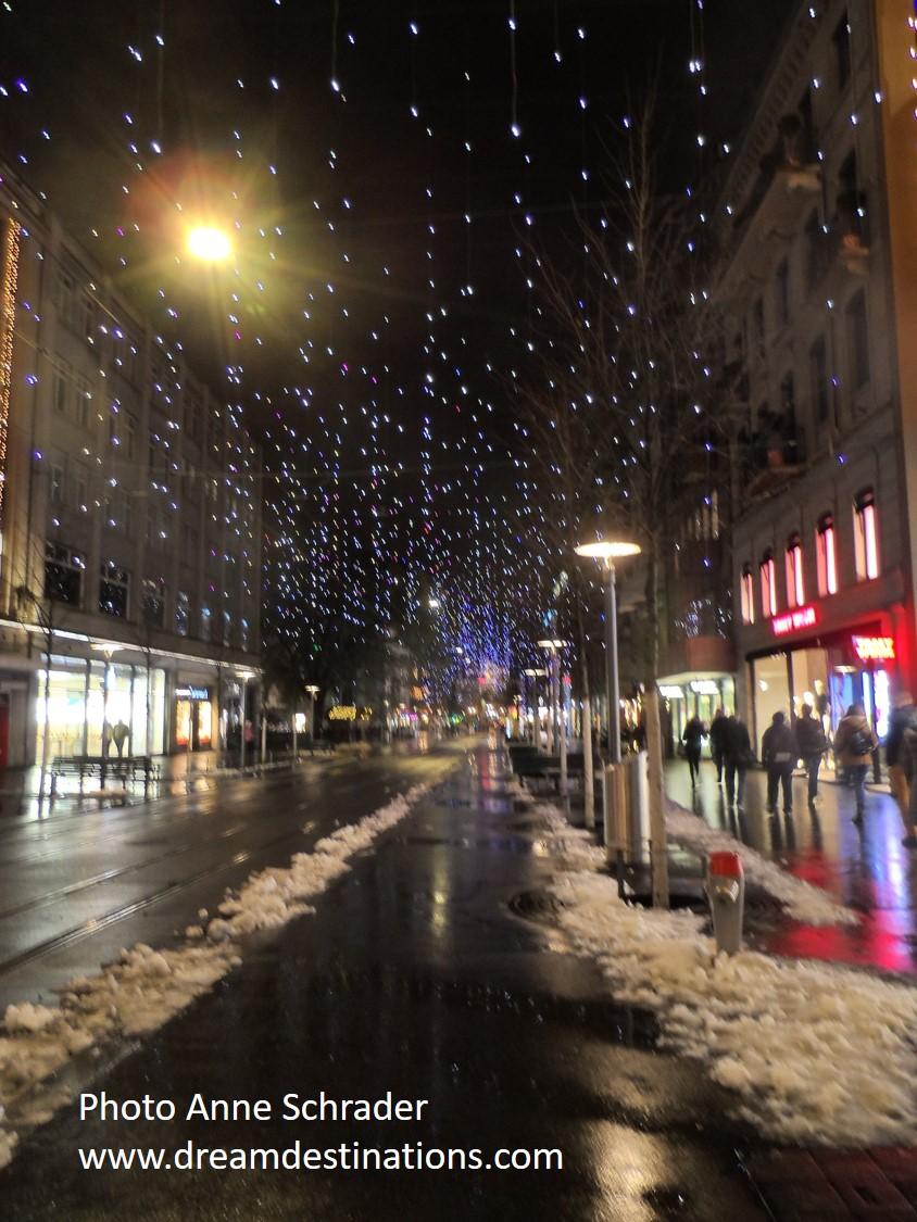 Banhofstrasse at night with the Christmas Lights