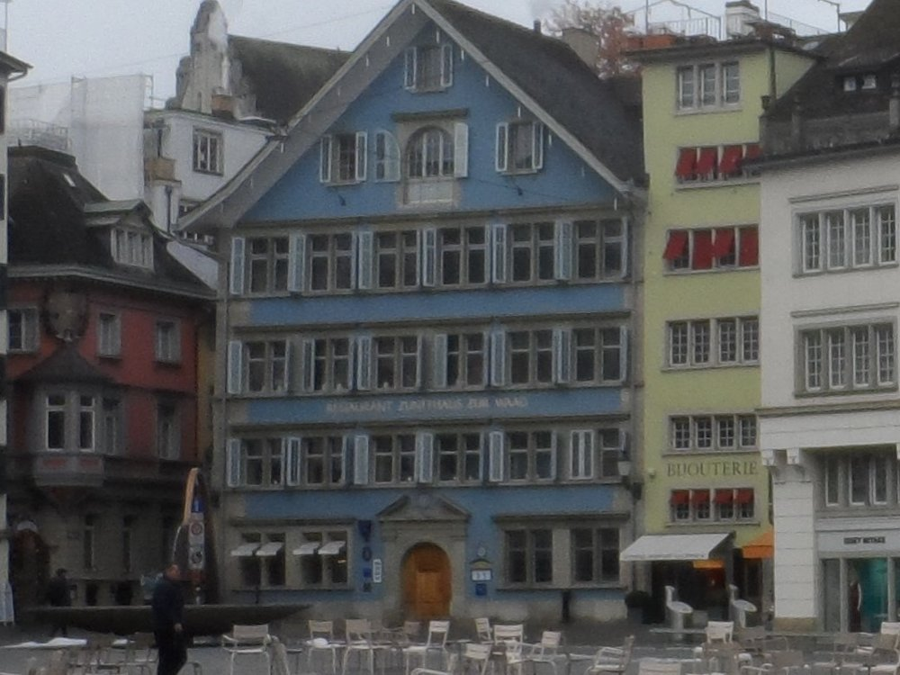 The Blue Building is the Weaver's Guild House—now it is a restaurant