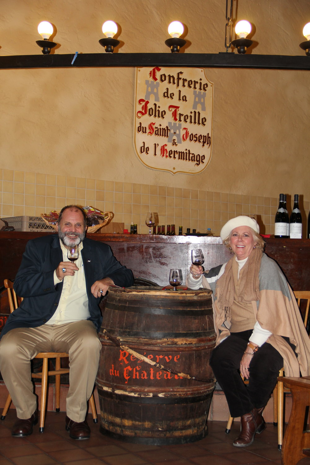 Anne & Hank at a Rhone River Cruise Wine Tasting—looks like millionaire treatment to me!