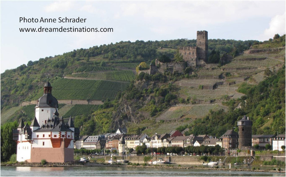 Pfalzgrafenstein toll castle (foreground) and Gutenfels Castle 110 meters above the town of Kaub (taken on an earlier AmaWaterways cruise)