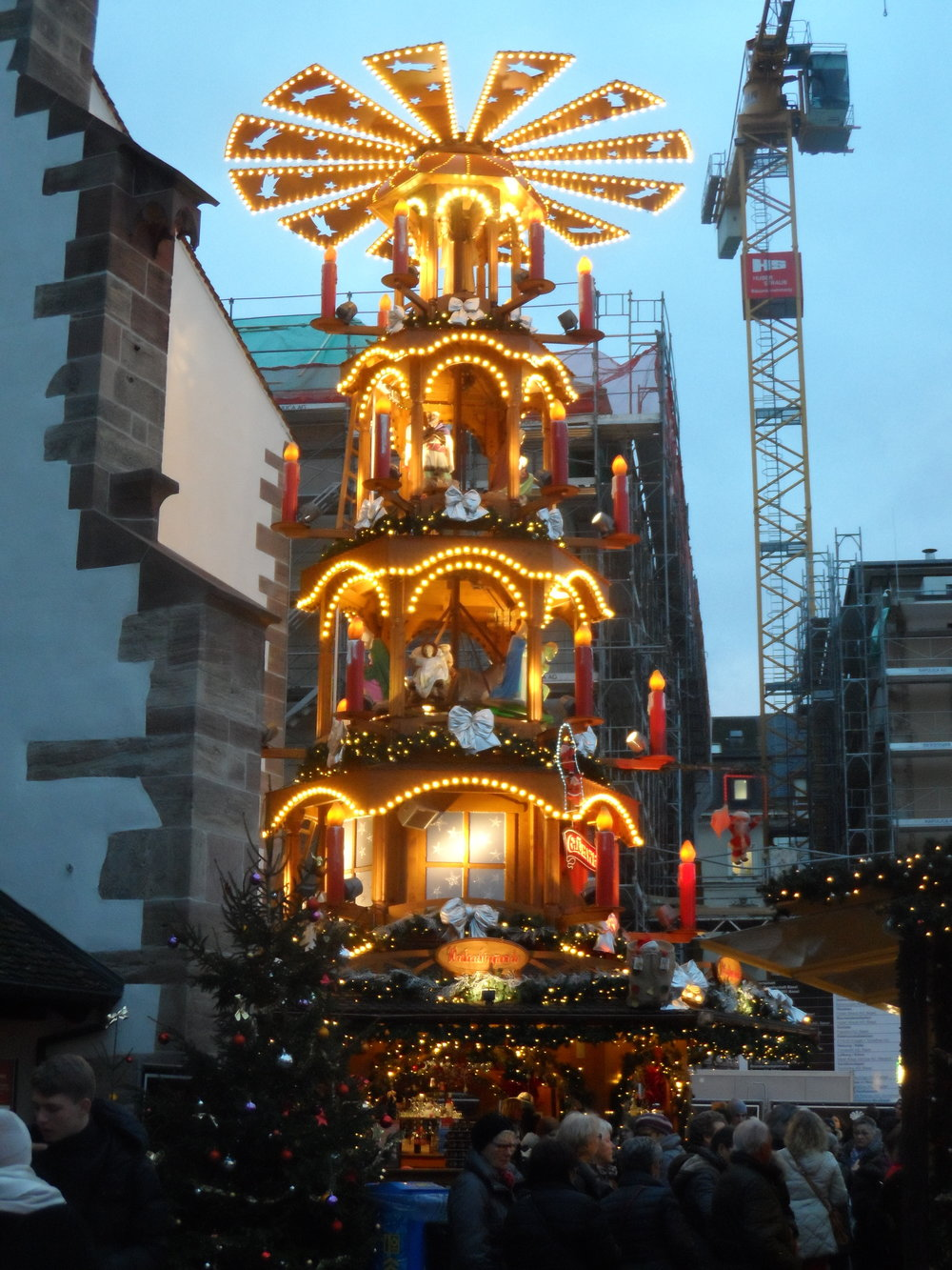 Anne took this picture in Basel, Switzerland—is a huge replica of a Christmas Candle Pyramid—a traditional decoration that originated in Germany