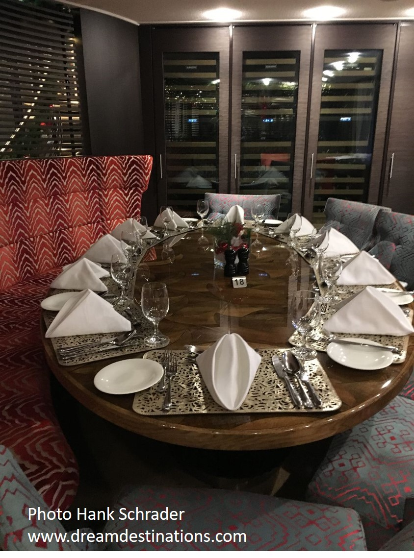 At the front of the Main Dining Room, there are two 10 person dining rooms that are called the Wine Rooms, since they store the many bottles of wine aboard the AmaKristina