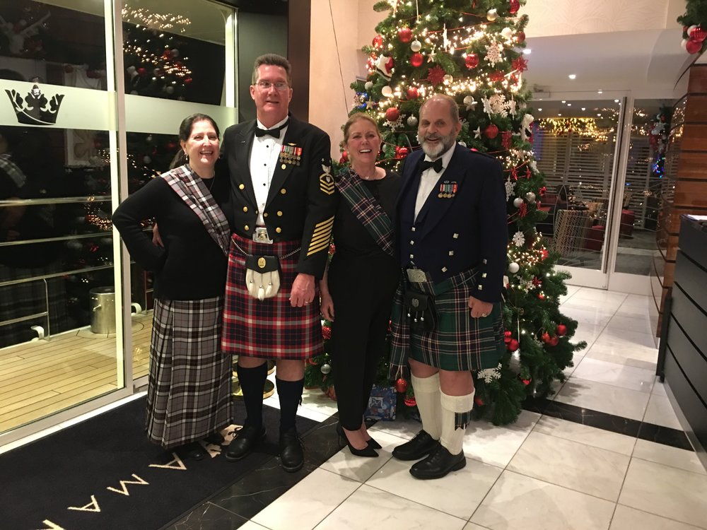Denise & Mark Thomas (left) with the Schrader's on the AmaKristina 2018 in our Scottish formal ware in the reception area just prior to the Captain's Dinner.