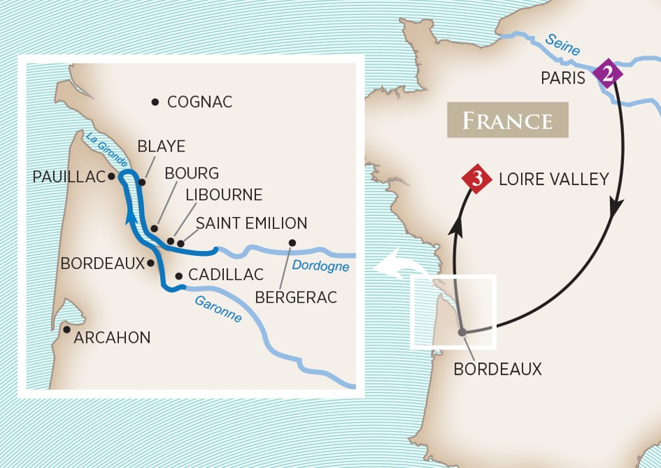 A typical Bordeaux cruise route. Map from AmaWaterways