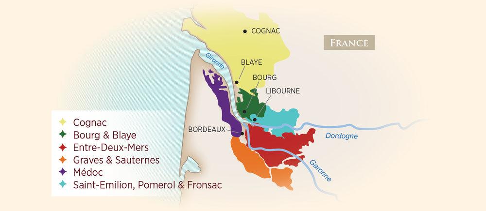 Wine Regions of Bordeaux. Map from AmaWaterways