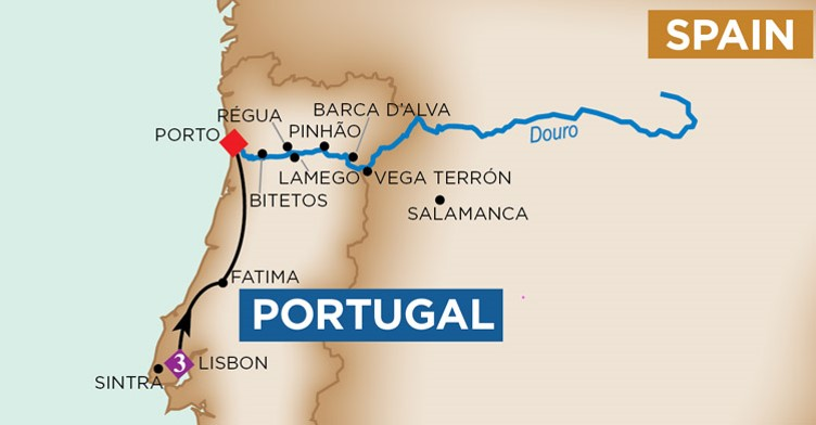 Typical Douro cruise route. Map from AmaWaterways