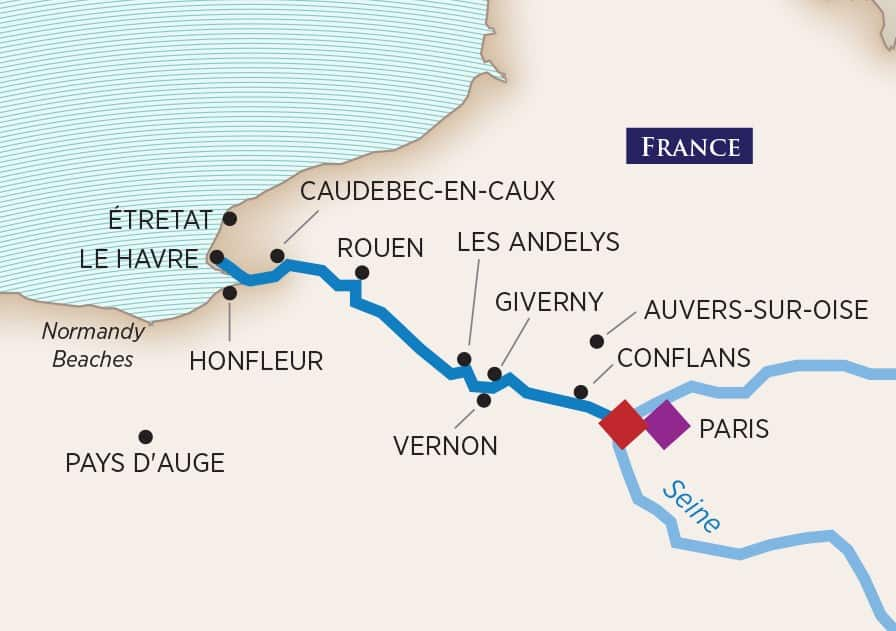 Seine River Cruise Route. Map image from AmaWaterways
