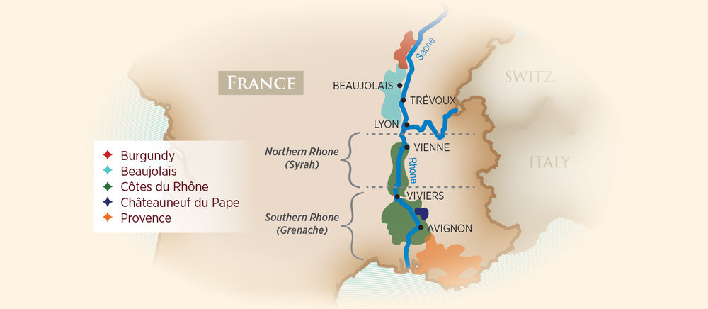 Wine Regions of the Saone and Rhone. Map image from AmaWaterways.