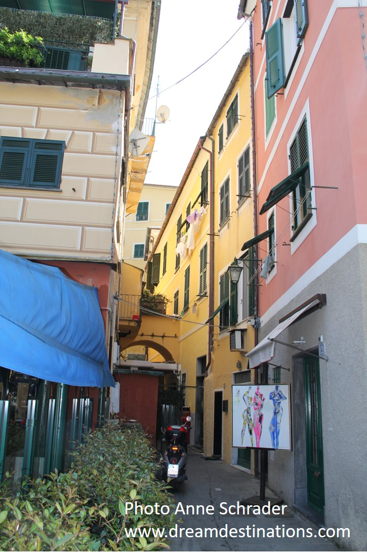 One of the colorful narrow alleys of Portofino