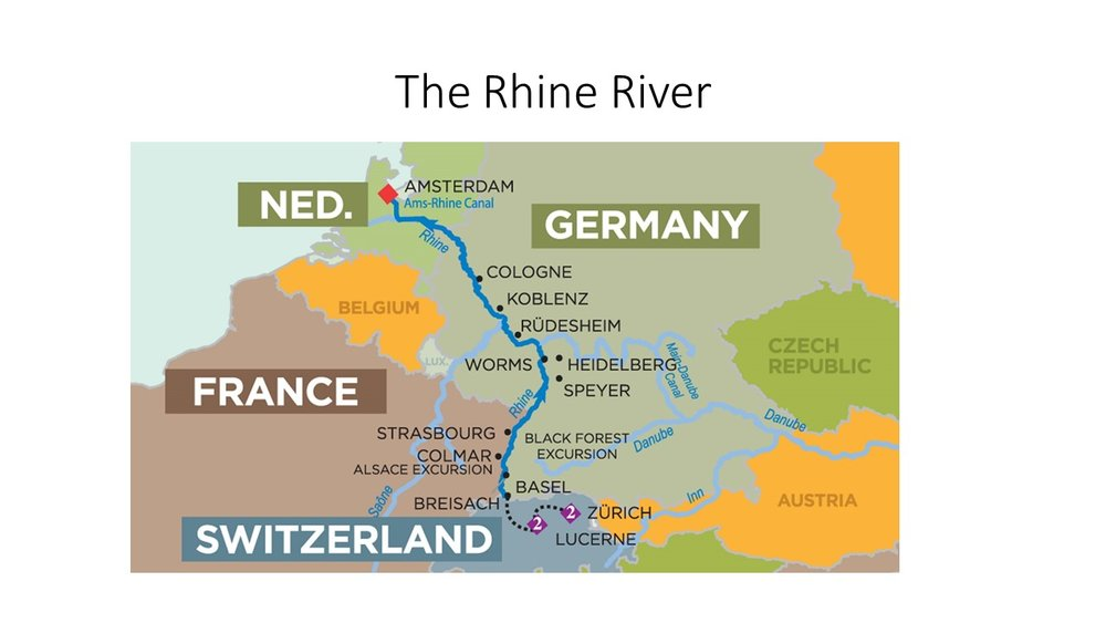 A Typical Rhine River Route. This is the second most popular route on Europe Rivers. Map image is from AmaWaterways