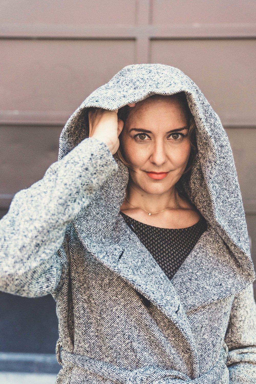 Women's Tailor Made Gray Hooded Coat