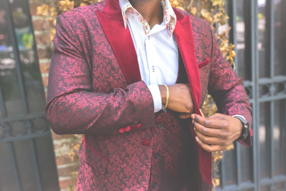 Men's Tailor Made 3-Piece Red Floral Suit