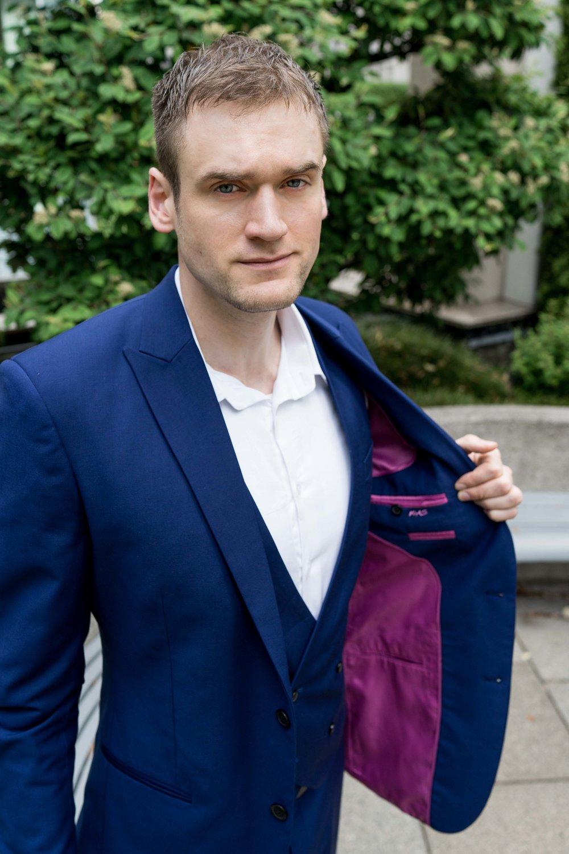 Men's Tailor Made 3-Piece Blue Suit