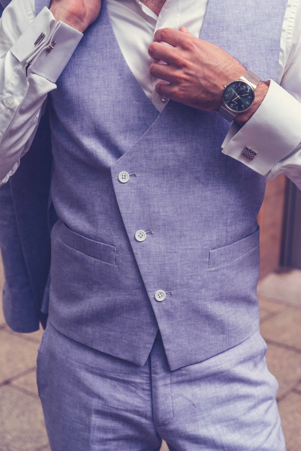 Men's Tailor Made 3-Piece Lavender Linen Suit