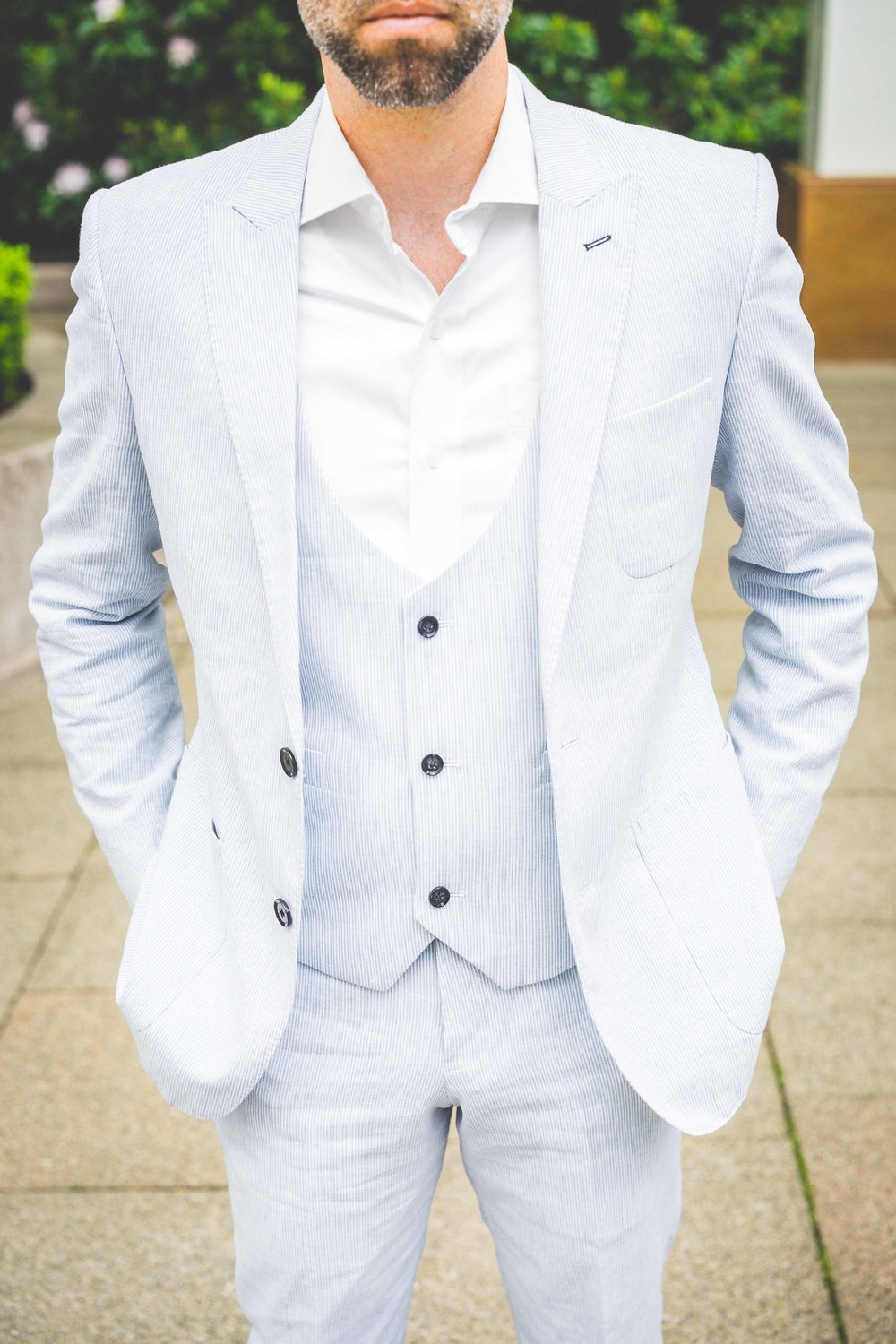 Men's Tailor Made 3-Piece Blue/White Suit
