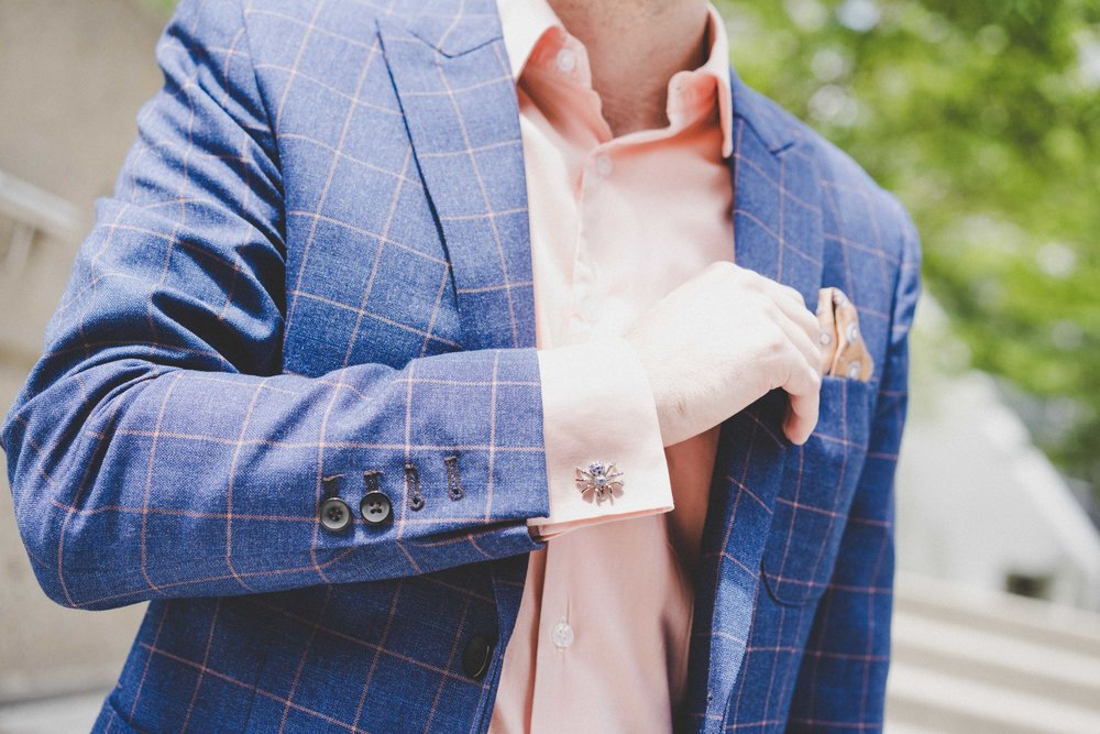 Men's Tailor Made 2-Piece Blue/Orange Checkered Suit