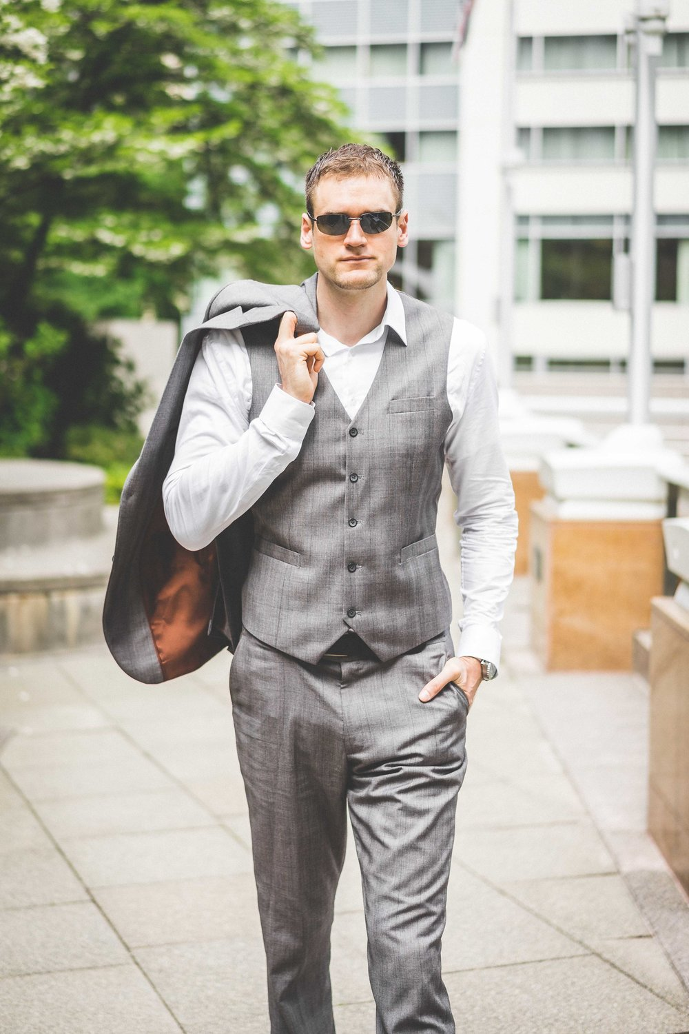 Men's Tailor Made 3-Piece Gray Suit