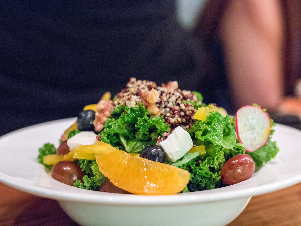 SUPER 10 SALAD   Quinoa - Edamame - Kale - Grapes - Walnut - Blueberry - Feta cheese - Orange - Garlic - Olive Oil     The healthy choice for you if meat is not your thing, but if meat isn't your thing why would you come here in the first place? Jokes aside this is a great green complement to the otherwise red meat dinner instead of as an alternative. All the stuff here will give you the vitamins and minerals for your daily intake. Fresh is the word here.