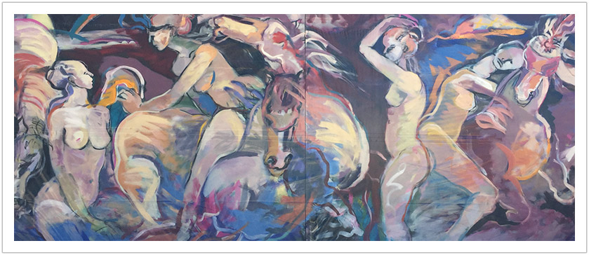 "Time of Summer Solstice acrylic on canvas | 60""x 144"" 