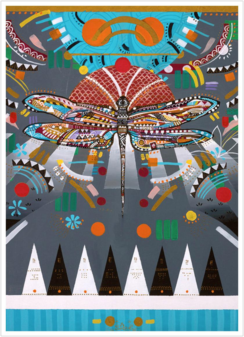 "Dragonfly acrylic on canvas | 36"" x 26"" | 2010"