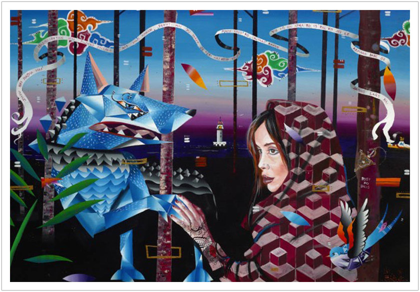 "Red Riding Hood acrylic on canvas | 48"" x 24"" 