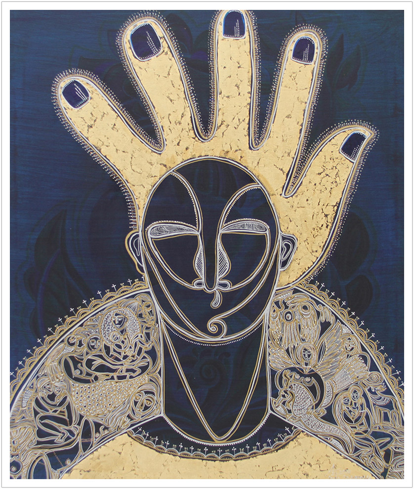 "Black Madonna acrylic & goldleaf on canvas |  39"" x 33.5"""