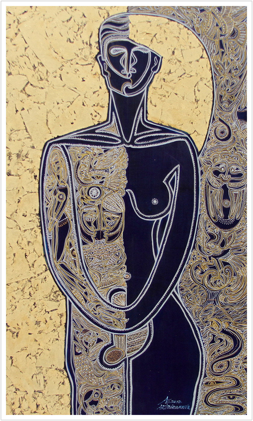 "Balance acrylic & goldleaf on canvas | 40"" x 24"""