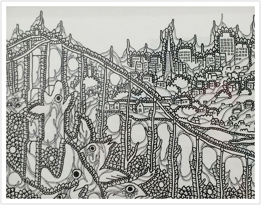 "San Francisco ink on Canvas | 10"" x 12"""