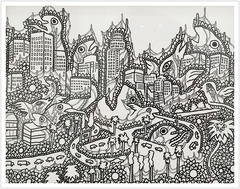 "Downtown LA ink on Canvas | 10"" x 12"""