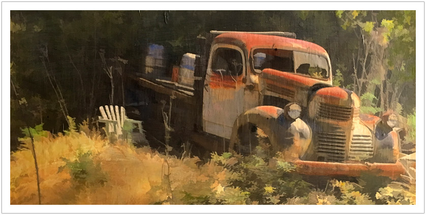 "Red Truck wax encaustic | 20.75"" x 38"""