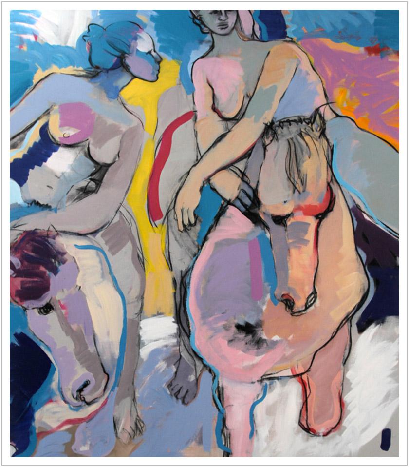 "Blue Green Spirit acrylic on canvas |60"" x 52"" |1986"