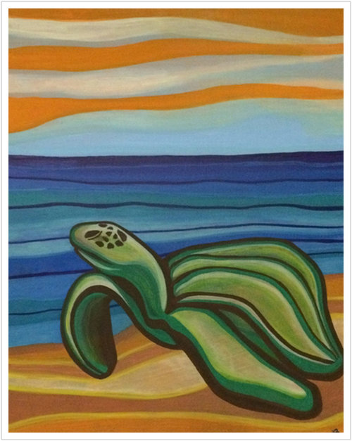 "Sea Turtle acrylic on canvas | 16"" x 20"""
