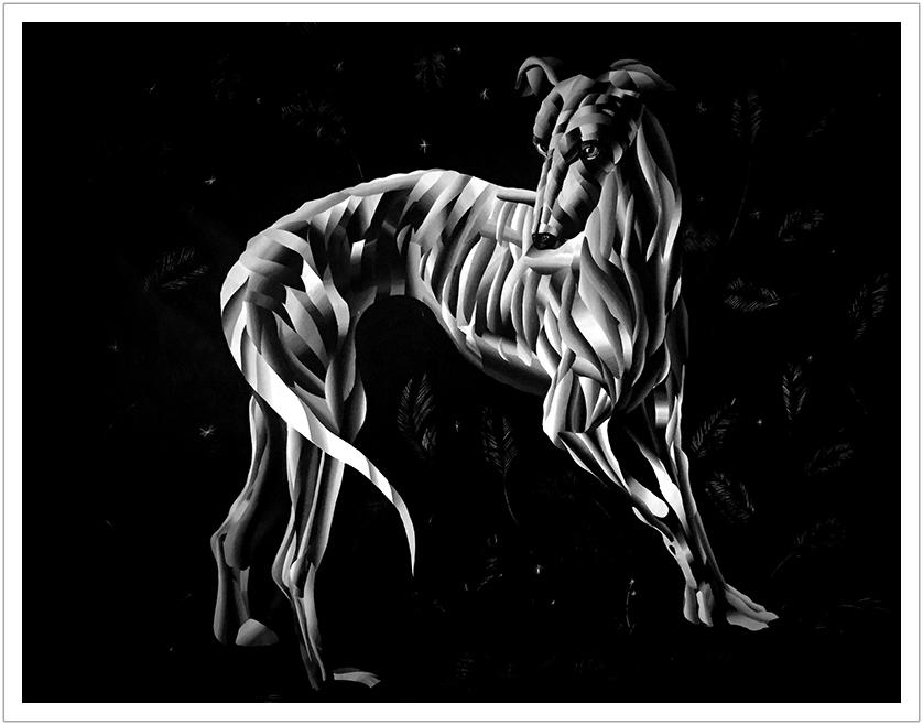 "Greyhound acrylic on canvas | 56"" x 50"" | 2016"