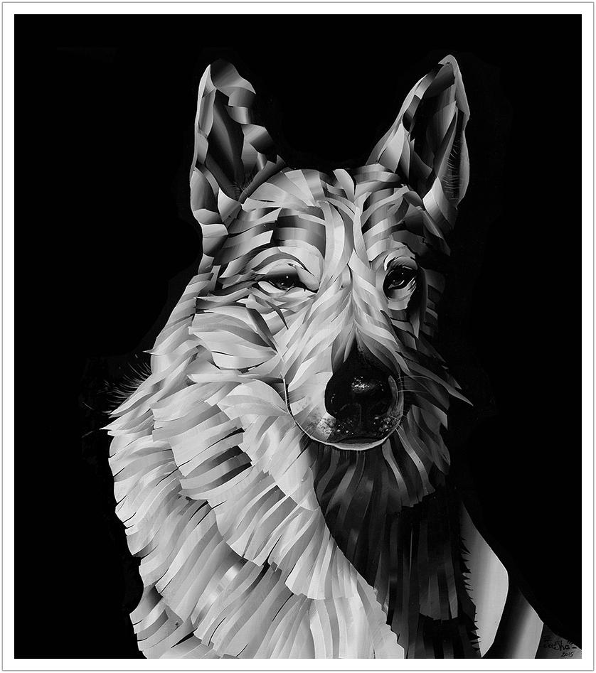 "White Wolf acrylic on canvas | 36"" x 24"" | 2015"