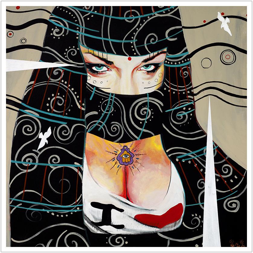 "New Valkyries acrylic on canvas | 38"" x 38 ""| 2007"