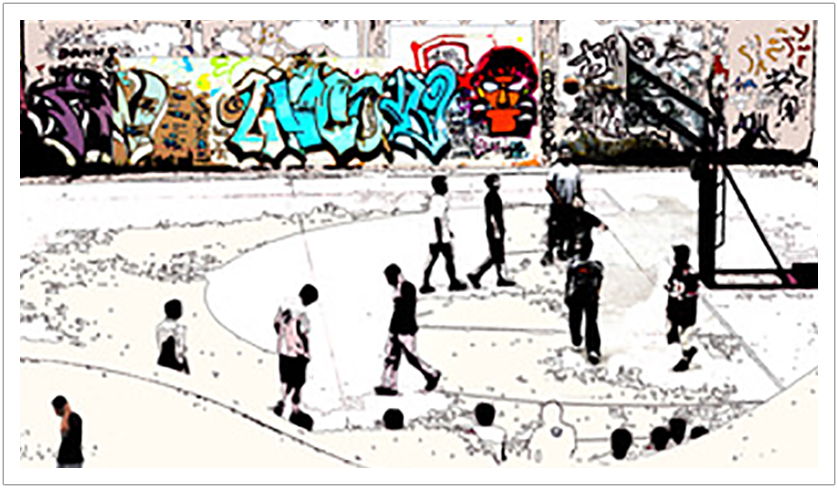 Basketball Shanghai Style limited edition print on canvas