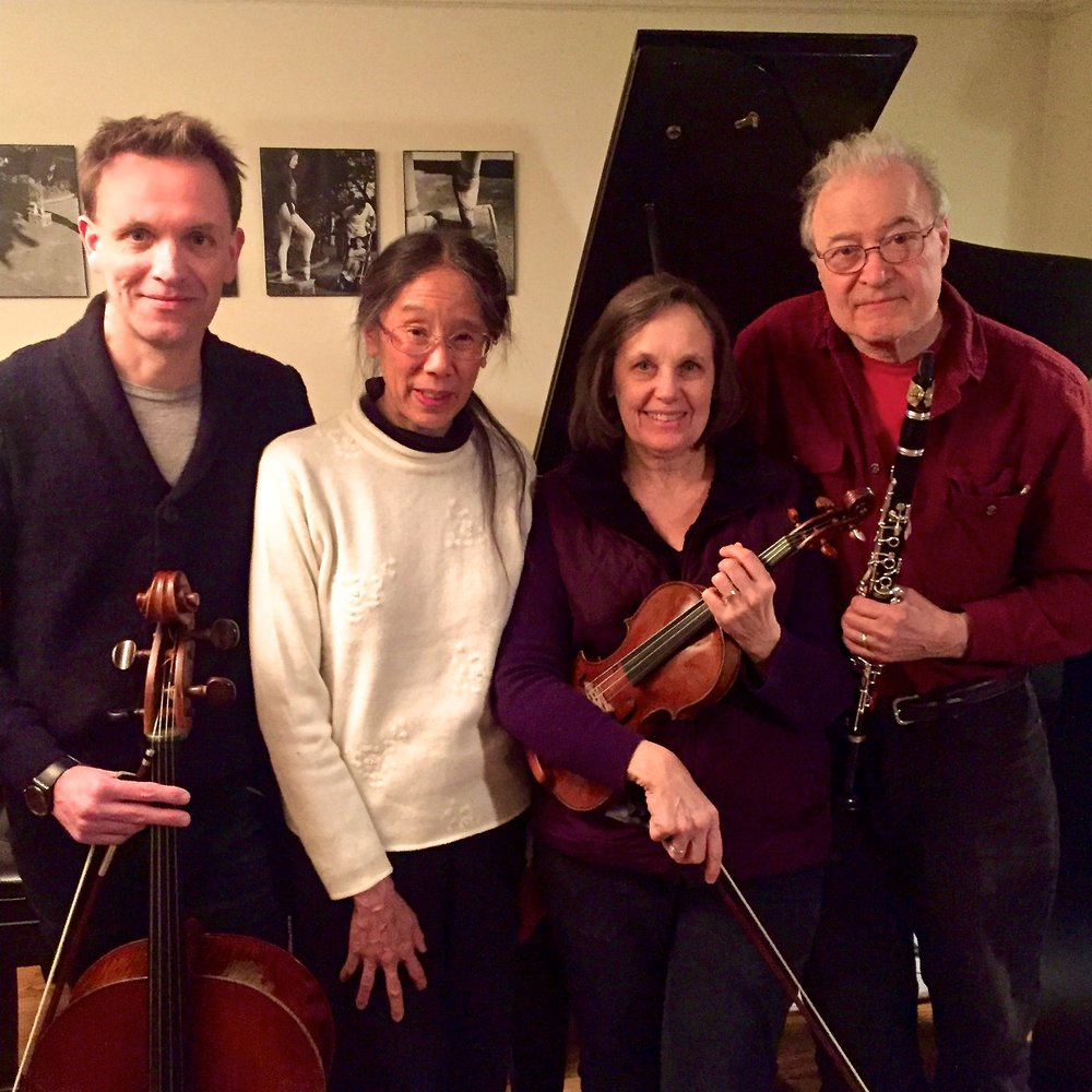 "Chamber musicians at a ""Quartet for the End of Time"" rehearsal"
