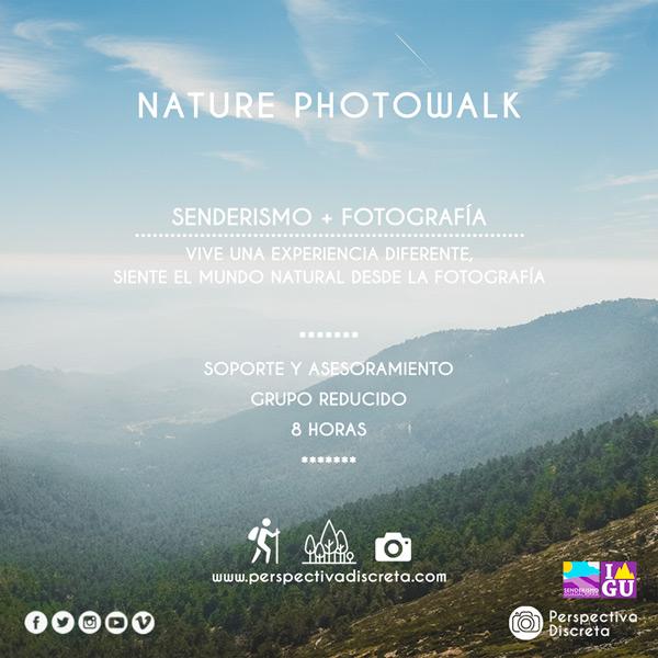 - Esta actividad consiste en combinar fotografía y senderismo, se organiza una ruta guiada por un paraje natural mientras se ofrece un apoyo fotográfico. El único objetivo es disfrutar de la naturaleza, mientras que aprendemos conceptos de orientación, senderismo y fotografía.