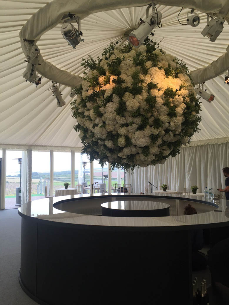 hydrangea sphere with wedding planner Jeremy Sillett
