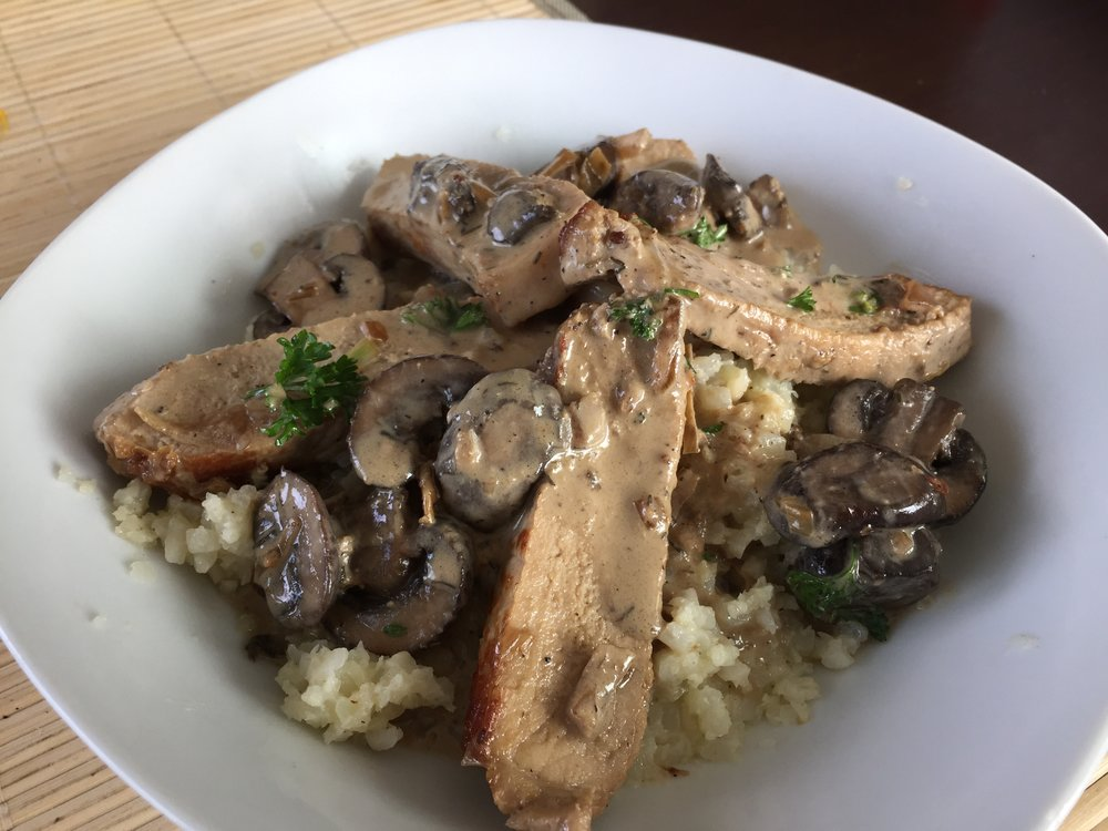 creamy-mushroom-pork-chops-cauliflower-rice