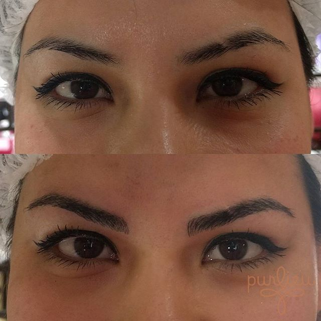 Before and after...freshly done #microbladed brows!