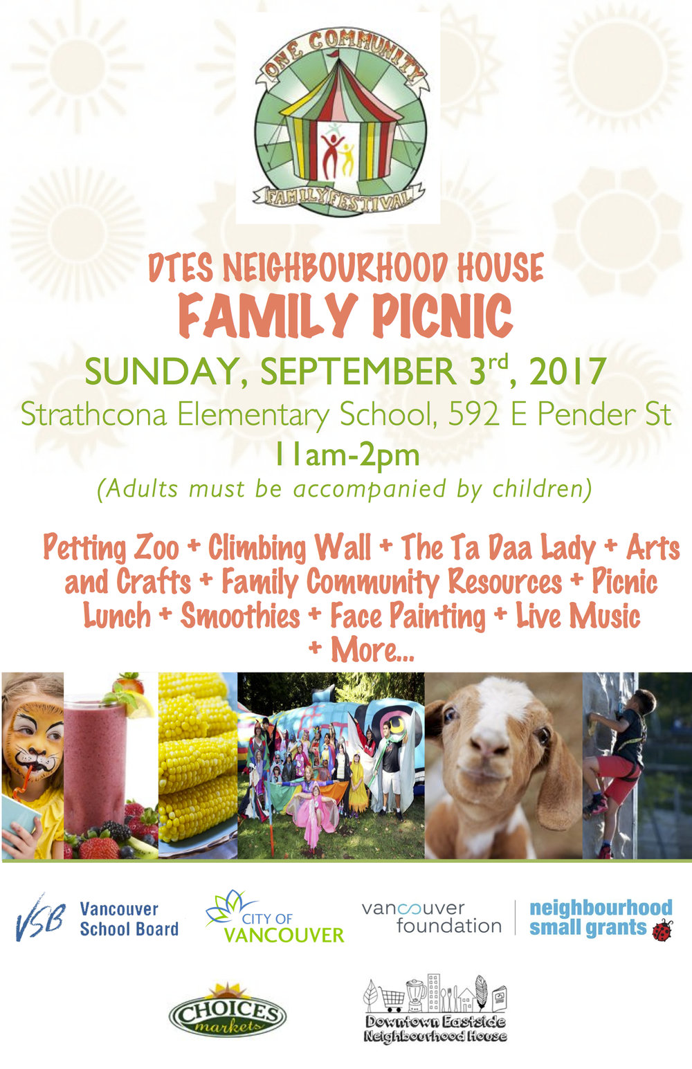 DTES Neighbourhood House: Family Picnic September 3rd, 2017 *Click to Volunteer!*  - The grassroots and secular DTES Neighbourhood House [DTES NH] is one of Vancouver's newest NH.  Volunteers, staff and Board members work to fortify the voice and ambitions of our neighbours by sustaining a Neighbourhood House in which DTES residents of all ages, genders and ancestries sculpt their future while honouring the four founding DTES communities – Indigenous, Japanese, Chinese and Low-Income